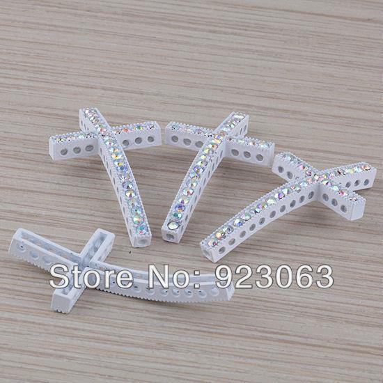 Wholesale pc lot ab rhinestone white curved sideways