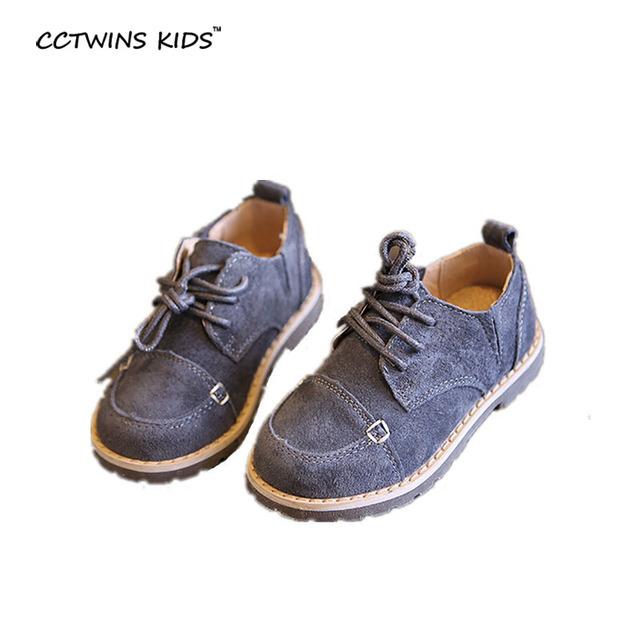 CCTWINS CRIANÇAS primavera do bebê do outono menino genuínos flats de couro crianças marca de moda lace-up para a menina casual sapato preto cinza