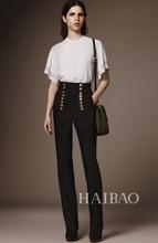 2016 woman spring summer fashion elegant white blouse + black high waist pants casual 2 piece set designer outfit D6329