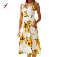 Feitong Nouveau Style D'été Moulante Robes Vintage Dames Sexy Fitness Imprimé floral Sans Manches V Cou Dos Nu Femmes Robe