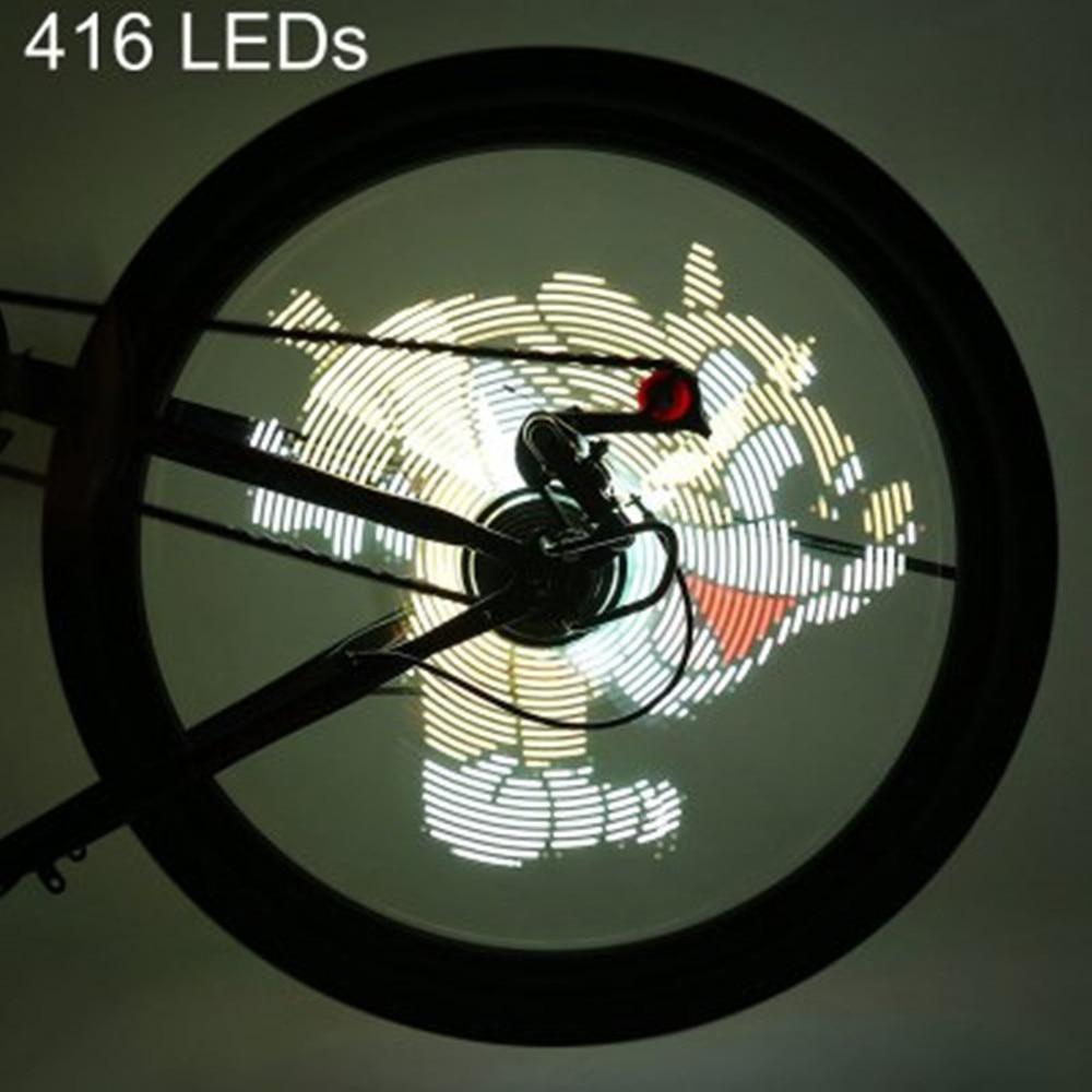 256/416 LED s Programmable vélo lumière vidéo Gif image bricolage vélo roue LED a parlé vélo lumières étanche vélo lumière