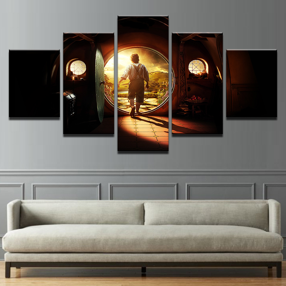 canvas pictures home decor wall art 5 pieces lord of the. Black Bedroom Furniture Sets. Home Design Ideas
