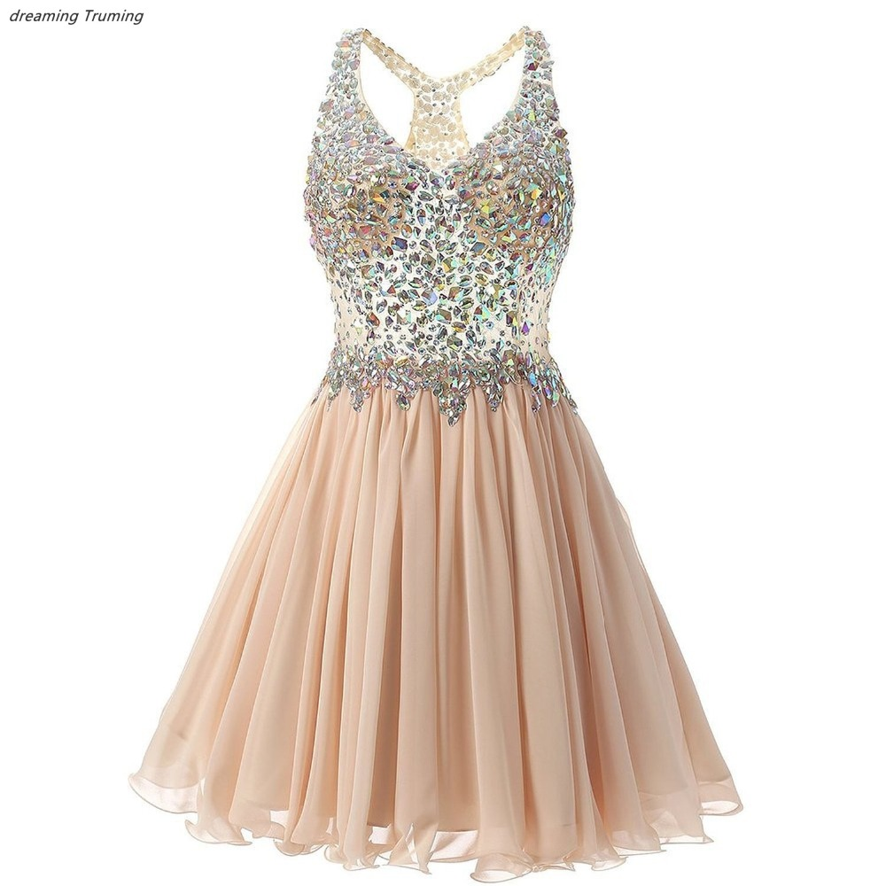 Champagne   Cocktail     Dresses   For Party 2019 Cheap A Line Chiffon Crystals Beading Above The Knee Elegant Graduation   Dress