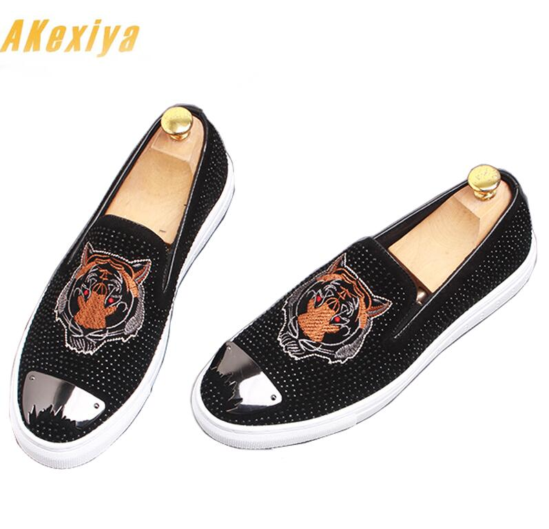 Strass Hibou Robe De Abeille forme Broderie Mocassins Tôle Chaussures Hommes 2 Plate Pageant 3 Tigre Luxe Designer 1 4 Loup 8xdtwxWA0n
