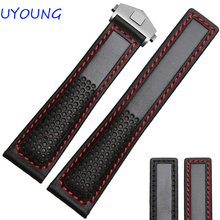 Hot Sales 22mm Black red Genuine Leather Watch Band Men Air Permeability With Holes Strap