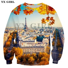 YX Girl Long Sleeve Crewneck Womens Clothes 3d Eiffel Tower/ Pyramid Scenery Sweatshirt for Women Autumn Casual Tracksuit Tops