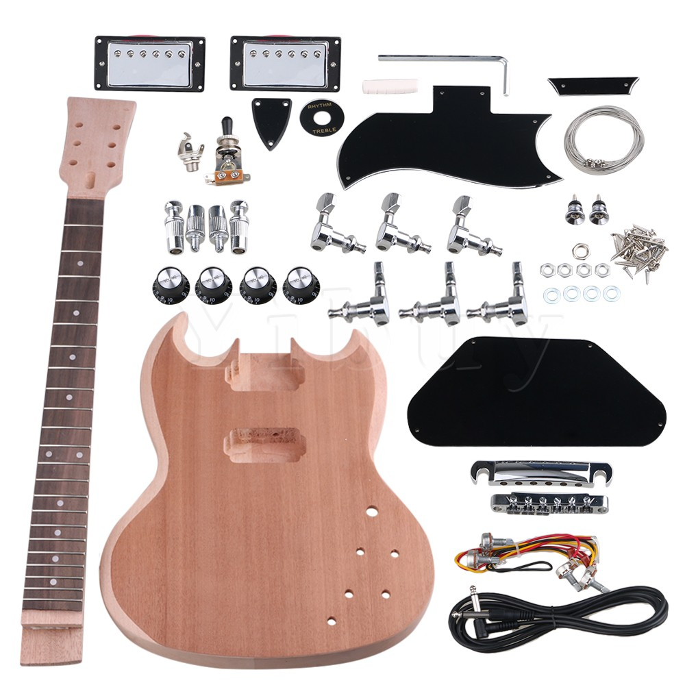 Yibuy Mahogany DIY Closed Double Coil Pickup Electric Guitar Body Neck with Tuning Pegs Unfinished Suit Accessories kmise electric guitar pickups humbucker double coil pickup bridge neck set guitar parts accessories black with chrome gold frame