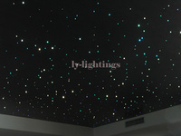 DIY bar ceiling light optic fiber light kit led light source+optical fibre RGB color change RF remote star sky room night light