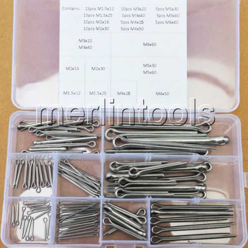 11 Kinds of 304 Stainless Steel Split-Cotter Pins Assortment Kit M1.5 - M6 14pcs m6 m6 25 6x25 304 stainless steel split cotter spring pin parallel dowel pins