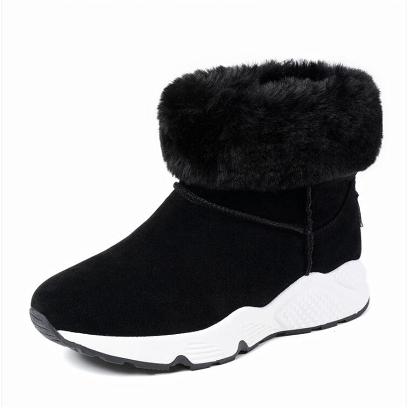 2017 new short canister boots female winter muffin thick bottom cotton boots wool shoes  shoes Woman Snow boots Keep warm short boots woman the fall of 2017 a new restoring ancient ways british wind thick boots bottom students with martin boots