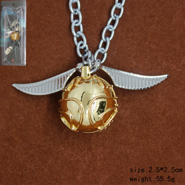 Hogwarts Cosplay Quidditch Game Golden Snitch Pendant Necklace Kid's Halloween Christmas Birthday Gift Halloween Cos Accessory