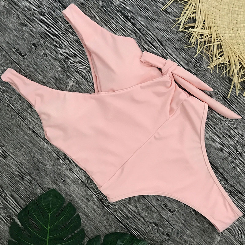 2180a37352a66 XREOUGA One Piece Swimsuit Solid 2018 Swimwear Swim Suit Side Tie Bandage  Bathing Suits Bikinis Deep V Summer Beach Biquini-in Body Suits from Sports  ...