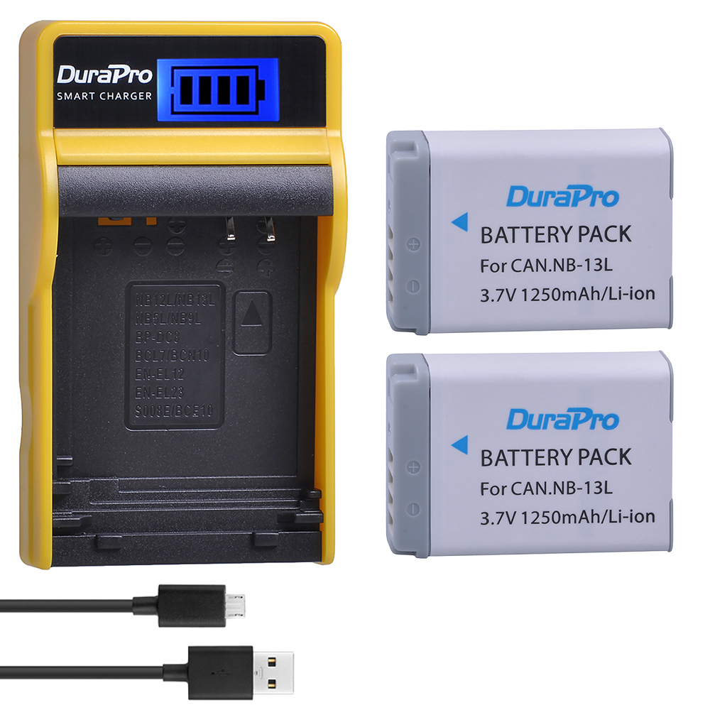 2 pc NB-13L 13L NB 1250 mAh Bateria Recarregável + Carregador USB para Canon G5X G7X G9X G7 X mark II SX720 HS Câmera