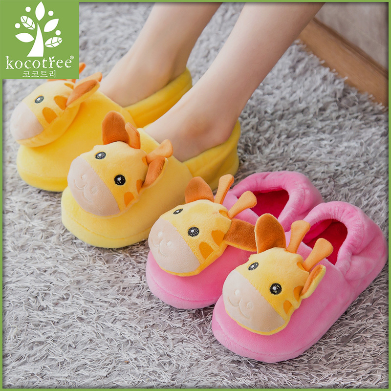 Winter Home Shoes Indoor Flooring Chaussure Cartoon Giraffe Children's Slippers Super Warm Soft House Slipper For Kids Boy Girl