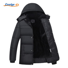 Covrlge Men's Winter Park 2017 New Fashion Warm Mens Parka Jacket Thick Hooded Quilted Jacket Padded Coats Brand Clothes MWM049