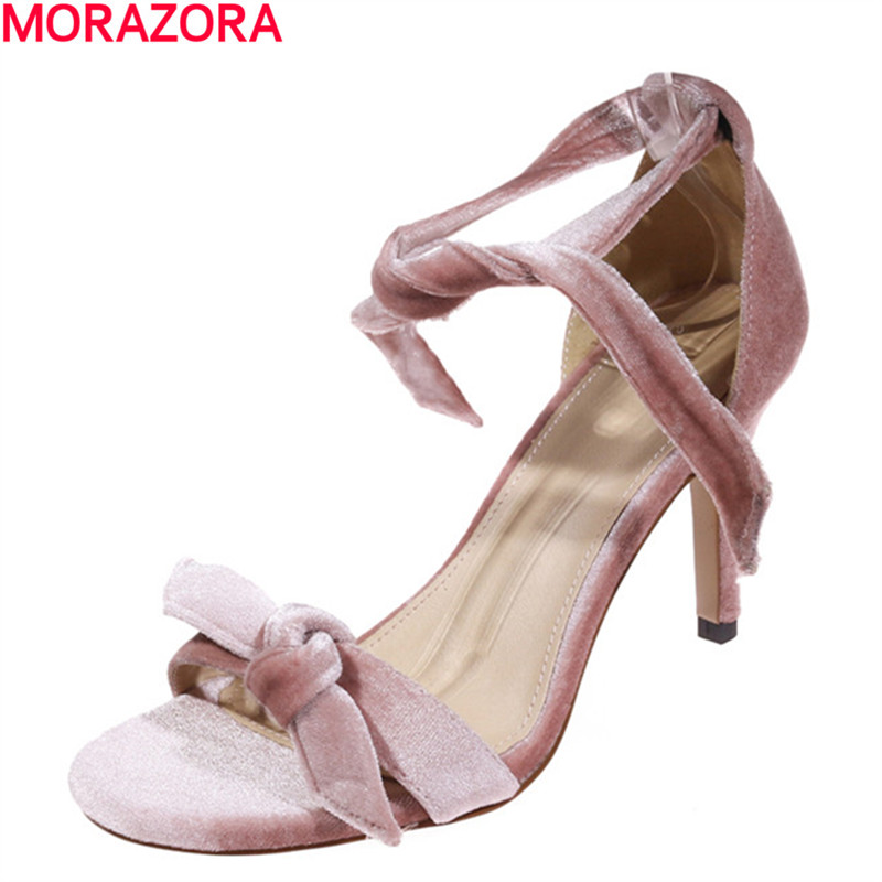 MORAZORA sweet new arrival fashion bowknot women sandals stiletto heels high quality flock shoes ankle strap party shoes brand new sale fashion low fretwork heels rhinestone women party shoes elegant sweet ankle buckle strap lady top quality sandals