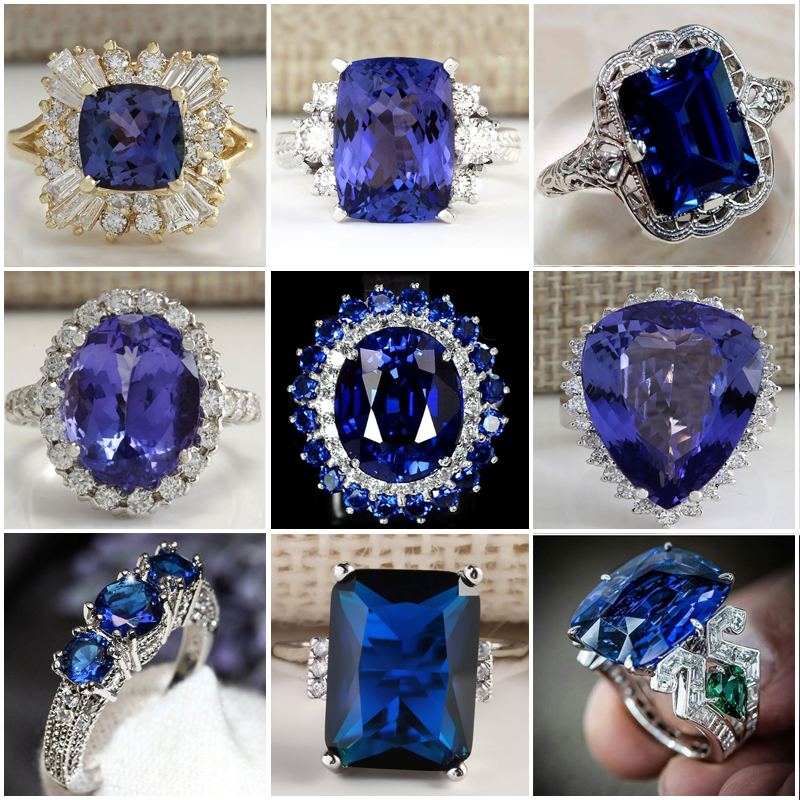 Ladies Accessories Jewelry Stone-Ring Engagement-Ring Promise Blue Fashion Women Gifts