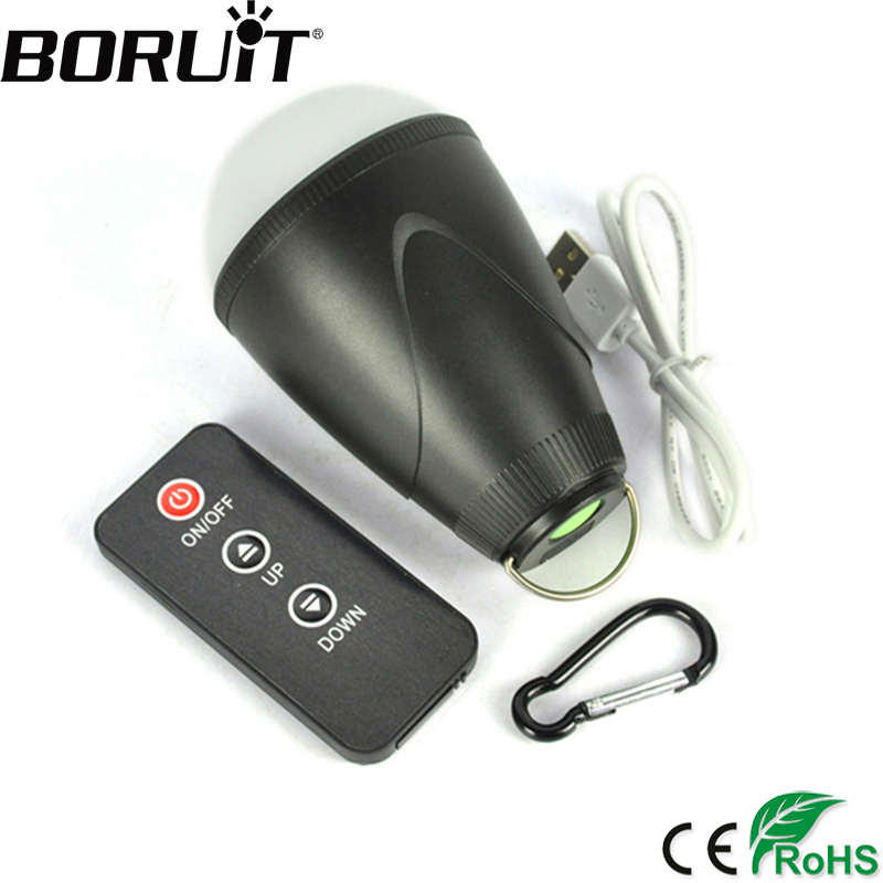 Boruit 1 5W 200LM 12 LED Portable Lantern with IR Remote Control 3 Mode USB Rechargeable