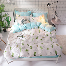 Green Cactus Pastoral Bed Linen Set White Bedding Bedclothes Duvet Cover For King Queen Blue Strip sheet bed set