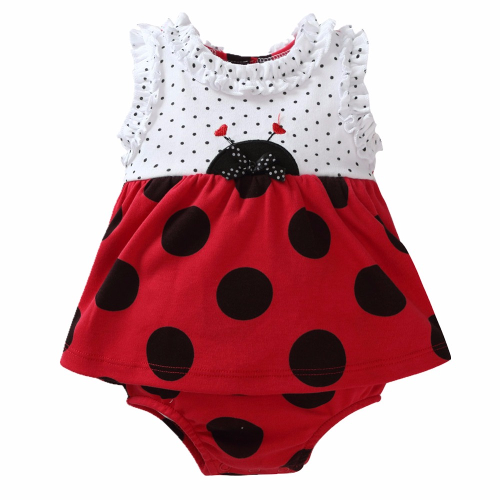 Momsbabe 100% Cotton Baby Girl Romper Dress, Newborn Infant Cute Lady Bug Outfit Jumpsuit Costume Ropa de bebe newborn baby rompers baby clothing 100% cotton infant jumpsuit ropa bebe long sleeve girl boys rompers costumes baby romper