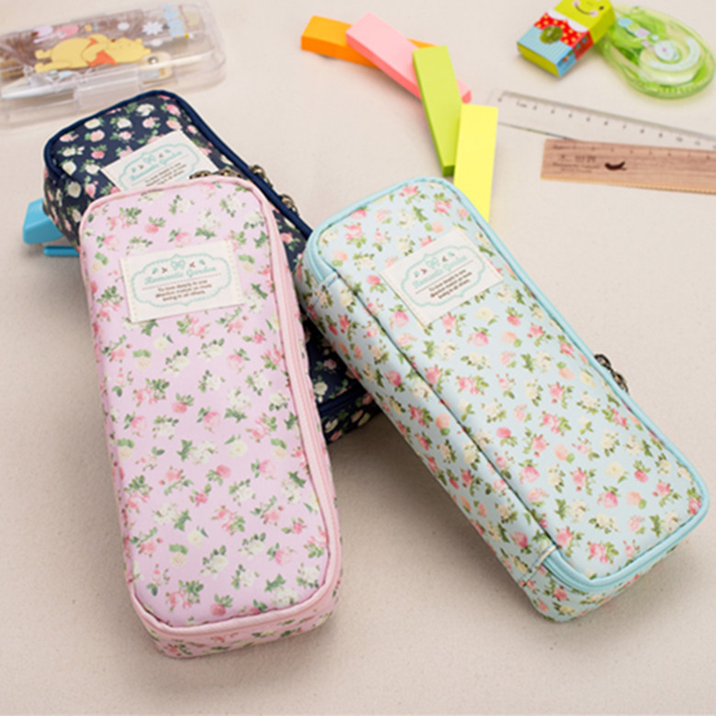 Vintage Large Capacity Brief Denim Canvas Pencil Case Flower Design Girl Pen Box Stationery Bags for Shcool Student Supplies deli gradient candy color large capacity zipper pencil stationery case student pencil bag