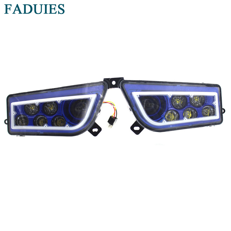 FADUIES 2015-2017 POLARIS RZR 1000 XP / For 2015-2016 RZR 900 - Blue LED HALO HEADLIGHTS KIT- Angel Eye voltage regulator rectifier for polaris rzr xp 900 le efi 4013904 atv utv motorcycle styling