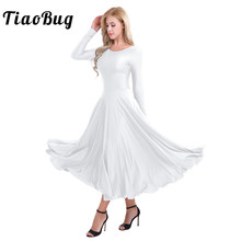 48c328fd1a TiaoBug Women Long Sleeve Professional Ballerina Stage Ballet Tutu Dance  Long Dress Loose Fit Contemporary Lyrical