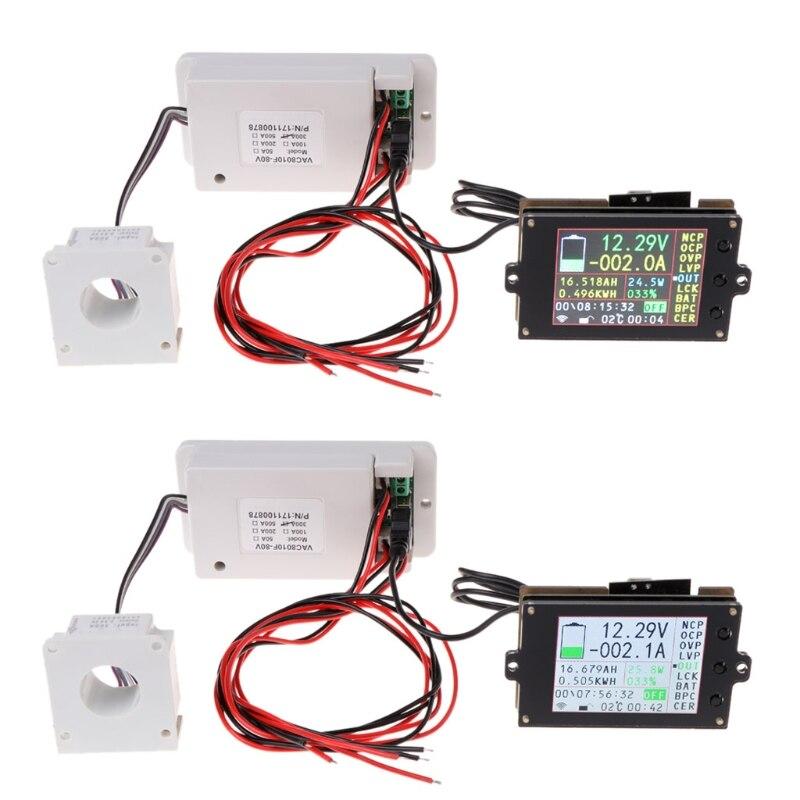Wireless Multifunction Voltmeter Ampere Meter DC 0 80V 0 300A with Hall Sensor