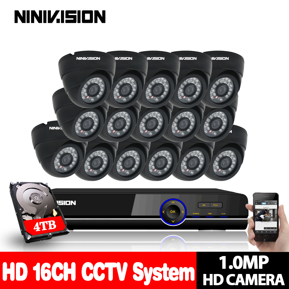 16CH 1080P DVR NVR System 16PCS indoor Dome 720p 1.0mp IP Camera IR 30M 16Ch CCTV Surveillance Security System 4TB Hard Disk