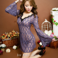 yomrzl L389 new arrival summer sexy full lace women's nightgown, high quality deep-v neck sleepwear, fashion sleep dress