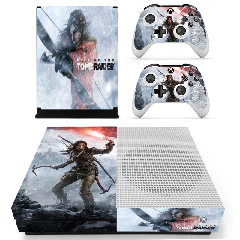 HOMEREALLY For Xbox one s Skin RISE OF THE TOMB RAIDER Custom Sticker Cover For Xbox One Slim Console and 2 Controller Accessory