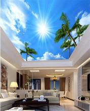 Modern 3D photo wallpaper home interior blue sky and white clouds wallpaper living room ceiling hall mural wallpaper free shipping sky ceiling 3d bedroom wallpaper ktv bar backdrop wallpaper sky theme room large mural wallpaper