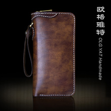 HK OLG.YAT handmade wallet men purse retro long zipper Italian Vegetable tanned leather wallets mens handbag genuine leather bag