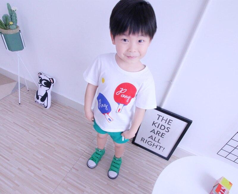 TTONCEN Europejski lato dzieci panda ping pong druku Koszulka - Ubrania dziecięce - Zdjęcie 1