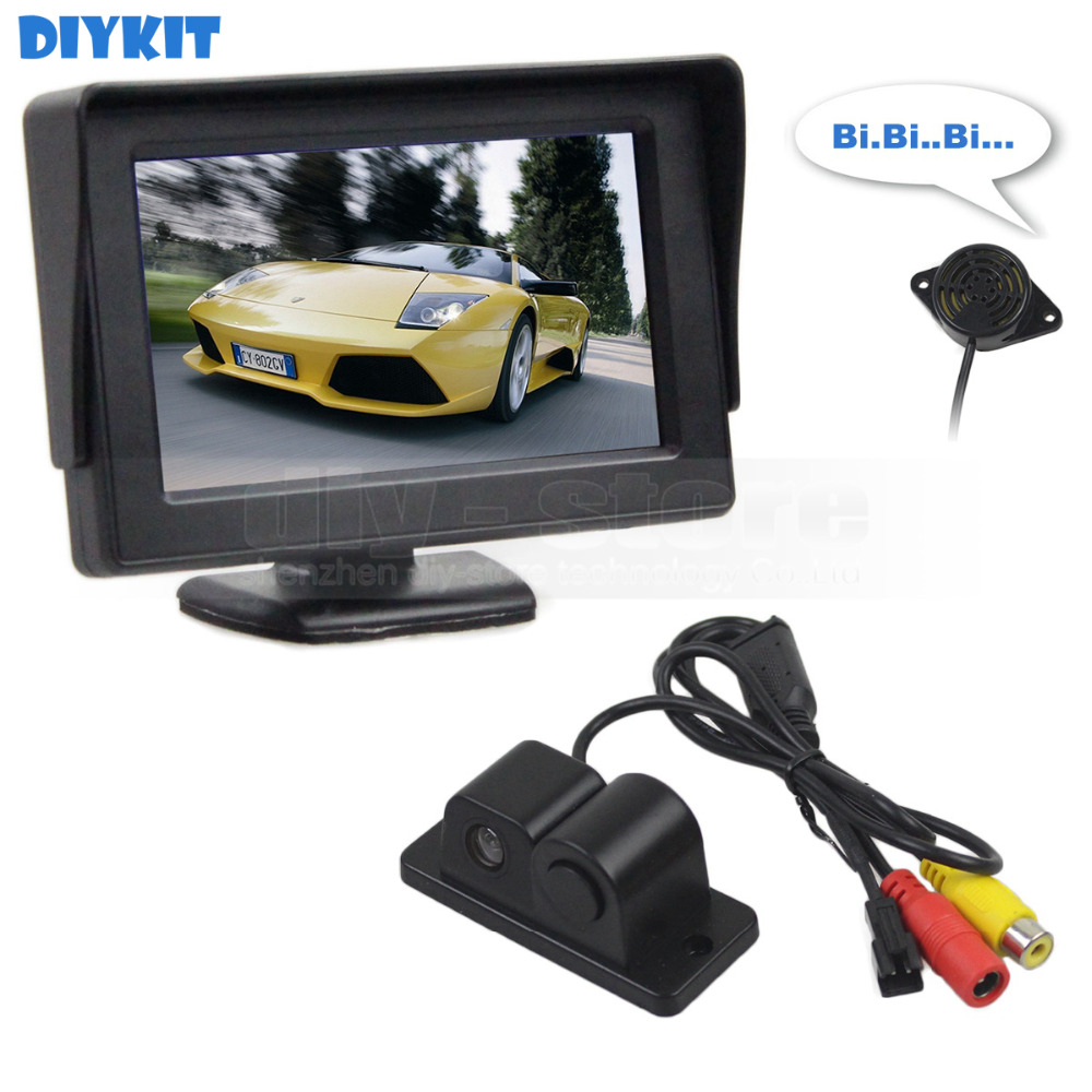 DIYKIT Wired 4.3 Inch Color TFT LCD Car Monitor + Waterproof Parking ...