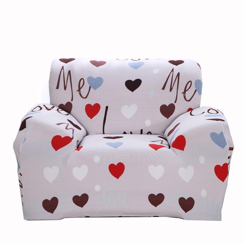 Grey Universal Stretch Grey Heart Pattern Couch Sofa