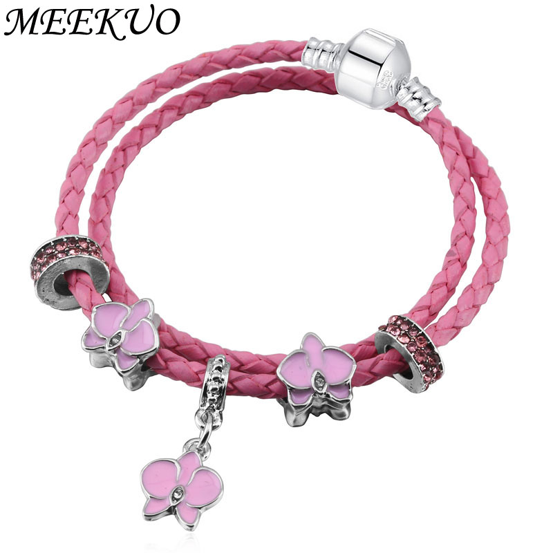 European Style Vintage Valentines Day Leather Pandora Bracelet for Women fit Original DIY charm Bracelet Jewelry Gift BL0138