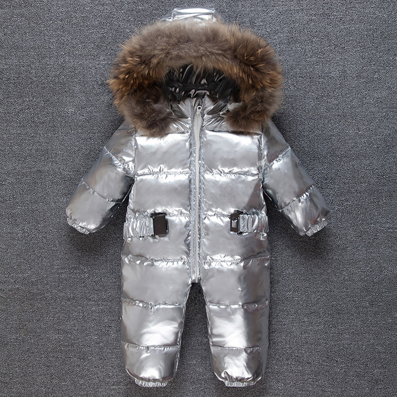 Silver baby winter Jumpsuit Romper kids warm Snowsuit  racoon fur  hooded overalls toddler costume duck down boy girl coveralls toilet seat