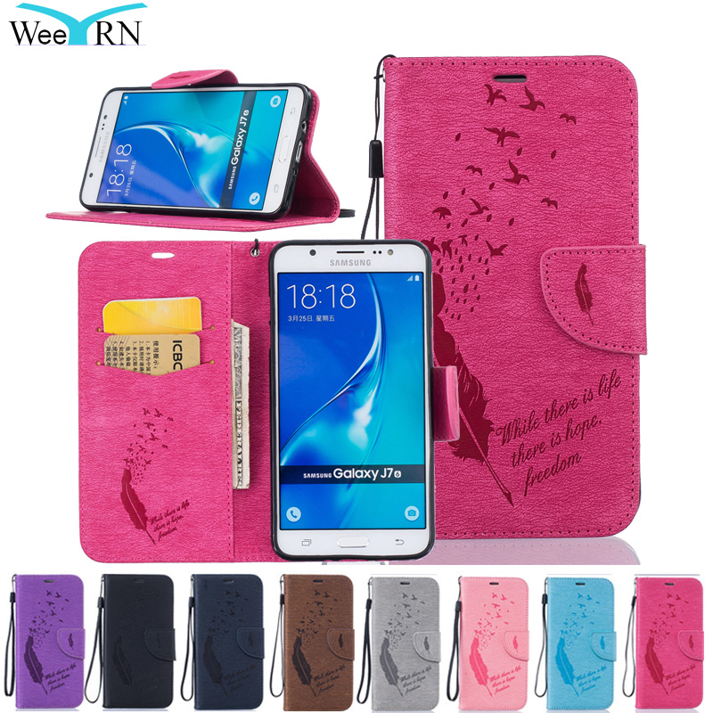 №Luxury Feather Flip Leather Case Cover For Samsung Galaxy J1/J5