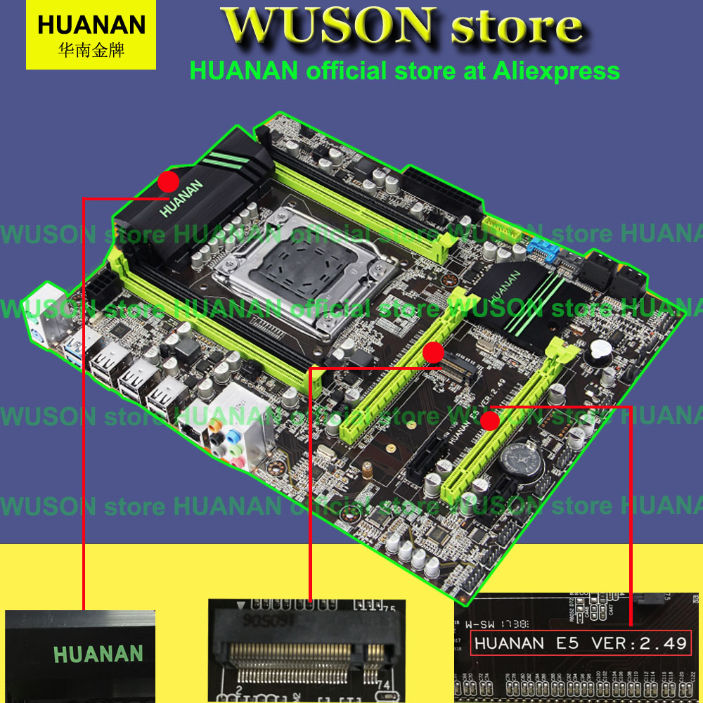 Meilleur vendeur HUANAN X79 carte mère 2.49/2.49 P ATX SATA3 USB3.0 port PCI-E NVME SSD M.2 port soutien 4*16G mémoire bonne qualité