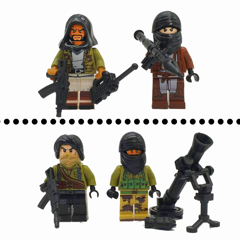 Military Soldier with Weapons AK Gun Brick Terrorist with RPG Model Army SWAT Police Figures Building Blocks Toys for Children military city police swat team army soldiers with weapons ww2 building blocks toys for children gift
