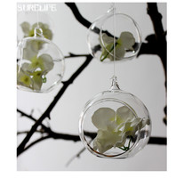 4PCS New Clear Glass Wall Hanging Vase Bottle for Plant Flower Terrarium Container for Gift DIY Home Wedding Decoration