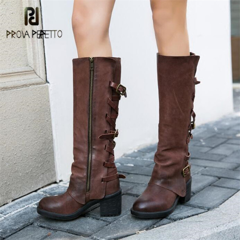 Prova Perfetto Retro Women Knee High Boots Straps Female Long Boots 6CM Chunky High Heel Botas Mujer Platform Rubber Martin Boot prova perfetto punk style women martin boots platform flat botas mujer straps buckles rubber shoes woman knee high boots