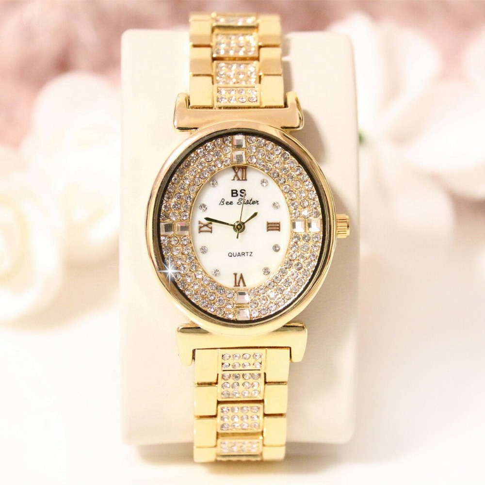 2016 New Fashion Famous BS brand Full Crytal Oval Women Watch Lady Luxury Gold Diamond Dress Watch  Rhinestone Bangle Bracelet  2016 new arrival luxury bs brand crystal women gold watch lady dress watch rhinestone bangle bracelet valentine gifts free ship