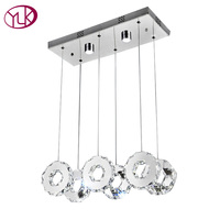 Youlaike Modern LED Chandelier For Dining Room Rectangle Kitchen Island Crystal Light Fixtures 6 Lights Hanging