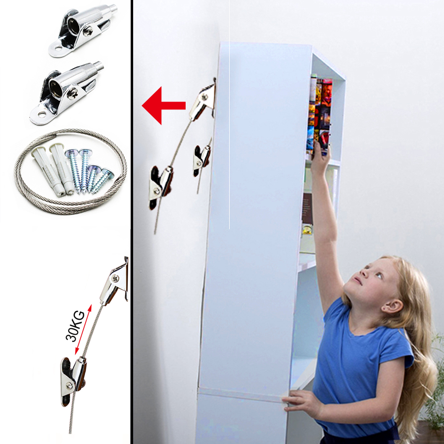 Anti Tip Furniture Anchor Straps Connect Wall and Furniture to Protect The Safety of Baby and Pets Safety Straps For Furniture in Hooks from Home Improvement