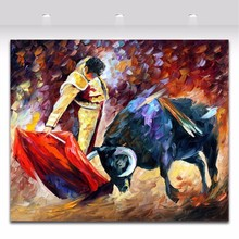 Wonderful Spanish Bullfighting Palette Knife Painting Canvas painting Picture for Living Room Bedroom Office Wall Art Decoration