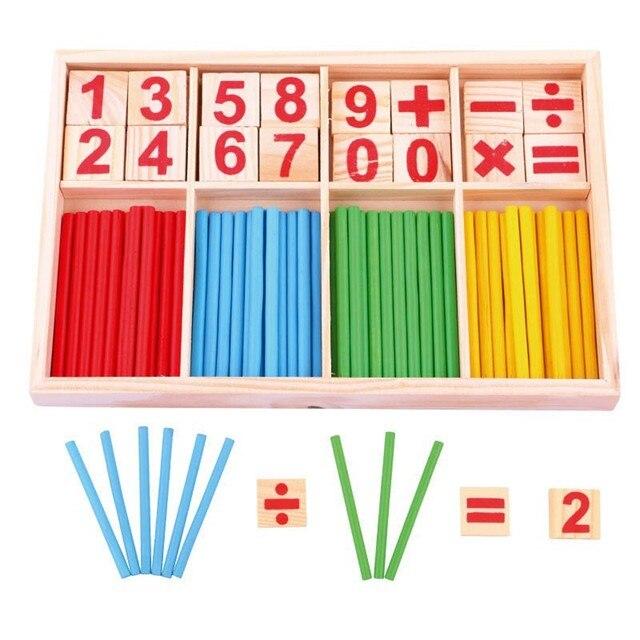 Juguetes de Montessori matemáticas juguete palos de madera para preescolar chico temprano aprendizaje contando calcular juguete interesante