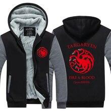 2016 New Game Of Thrones Haus Der Targaryen Herbst Winter Reißverschluss Fleece Hoodies Männer Hoody Hip Hop Mantel USA EU größe Plus größe