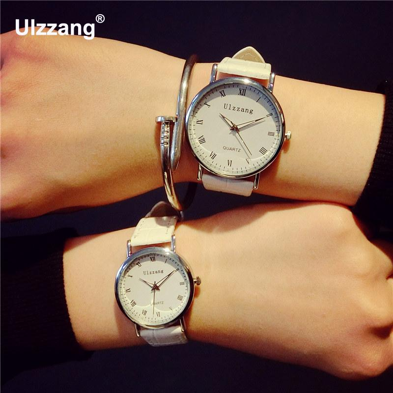 New Ulzzang Brand Classic Genuine Leather Quartz Dress Wristwatches Watches for Men Women Male Lovers Black White Brown  classic ulzzang brand vintage genuine leather women men lovers quartz wrist watch gift black white brown